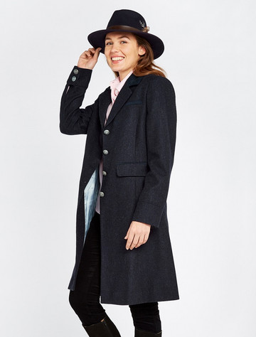 Blackthorn Ladies 3/4 Tweed Coat - Navy