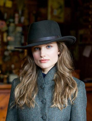 Ladies Boston Jack Wool Felt Hat- Olive