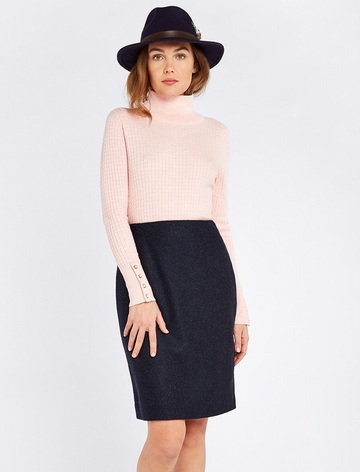 Fern Ladies Fitted Tweed Knee Length Skirt - Navy