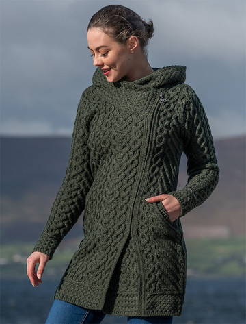 Claddagh Heart Design Side Zip Coatigan - Army Green