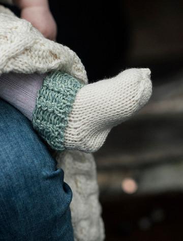 Super Soft Merino Wool Two Tone Socks - White & Sea Foam