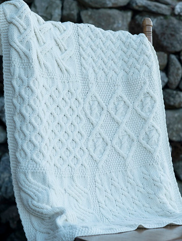 Super Soft Merino Patchwork Aran Throw - Classic Aran