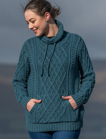 Ladies Super Soft Drawstring Sweater With Pouch Pocket - Irish Sea