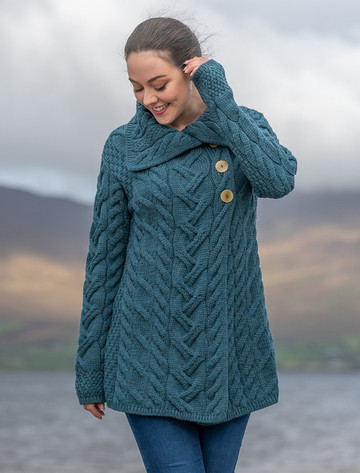 Ladies Super Soft Long Cable Knit Aran Cardigan  - Irish Sea