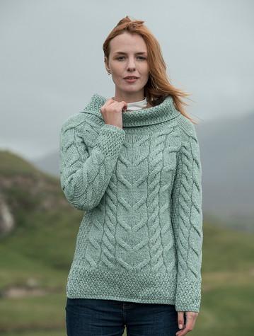 Luxury Chunky Cable Cowl Neck Aran Sweater - Seafoam Green