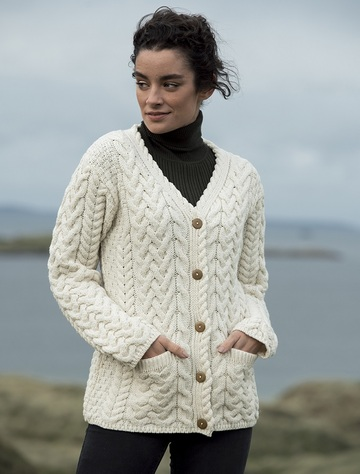 Super Soft V-Neck Button Up Cable Knit Cardigan - Classic Aran