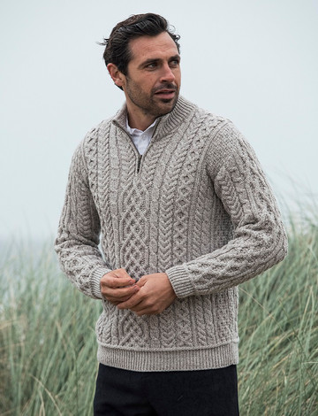 Mens Super Soft Half Zip Aran Troyer - Toasted Oat