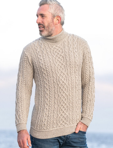 Super Soft Mens Wool Turtleneck Sweater - Toasted Oat