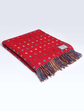 Lambswool Throw - Red Multi Color Spot