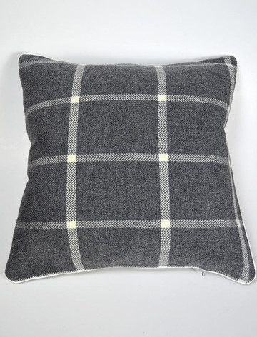 Lambswool Cushion - Oxford Windowpane