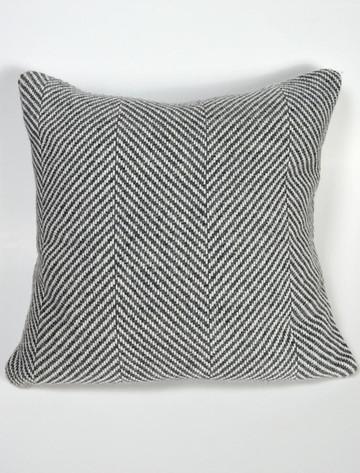 Lambswool Cushion - Grey Herringbone