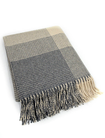 Wool and Cashmere Throw - Oxford Bone Large Block