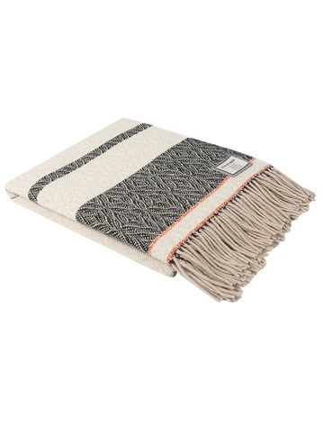 Merino Wool Throw - Black Cream with Orange