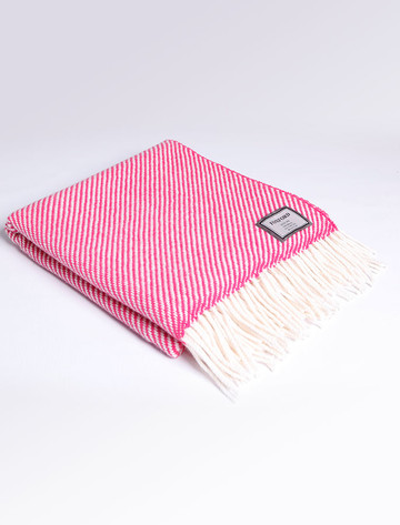 Merino Wool Throw - White Pink