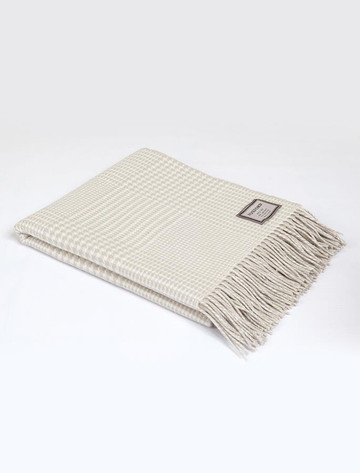 Lambswool Throw - Beige White Houndstooth