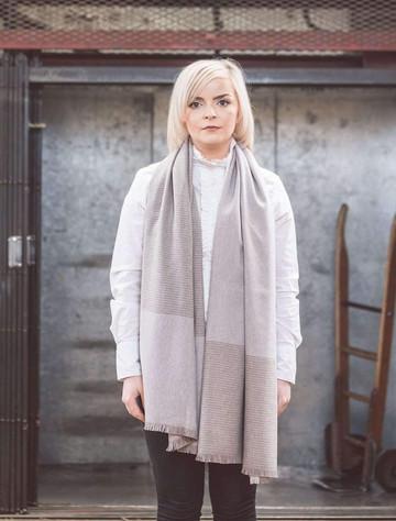 Cashmere Wool Stole - White, Loam & Bone