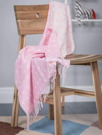 Lambswool Baby Throw - Pink Spot