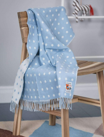 Lambswool Baby Throw - Blue Spot