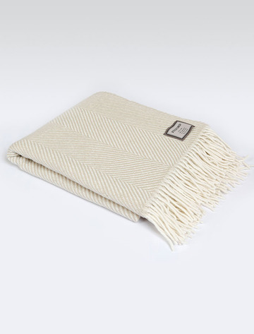Lambswool Throw - Bone Herringbone