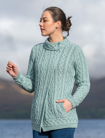 Side Button Collar Aran Cardigan - Mermaid