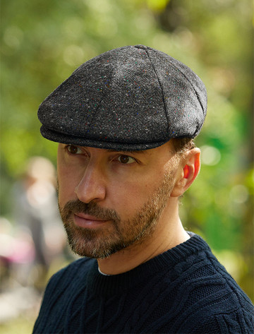 Donegal Tweed 8 Piece Panel Cap - Charcoal Fleck