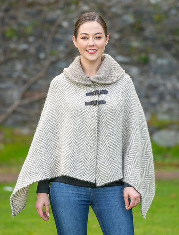 Shawl Collar Herringbone Poncho - Beige & Cream