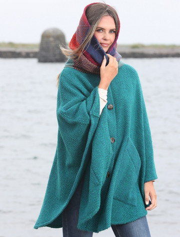 Tina Hooded Swing Cape - Killybegs Jade