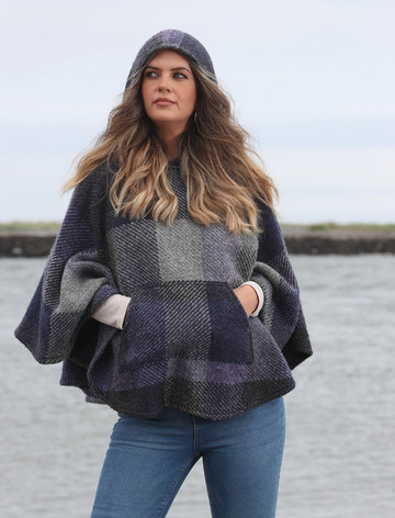 Kildare Herringbone Hooded Poncho - Multi-Indigo