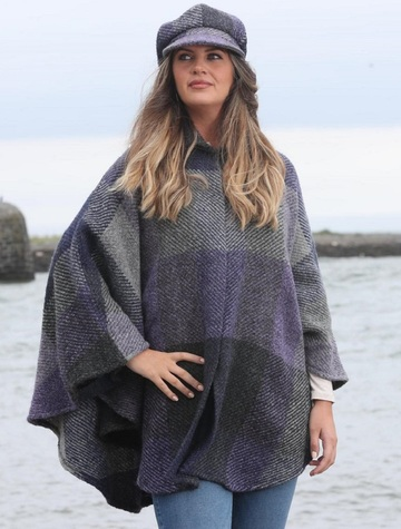Rachel Button Up Cape - Multi-Indigo