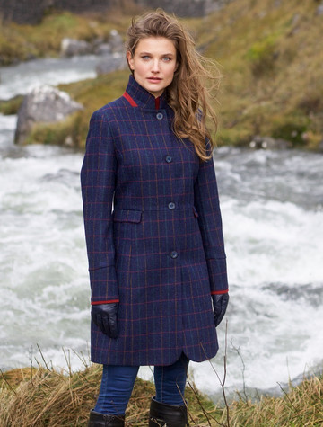 Pamela Tweed Coat - Primary Navy