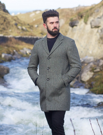 Owen Tweed Coat - Olive Wide Herringbone