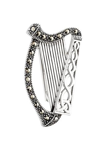 Silver Marcasite Harp Brooch