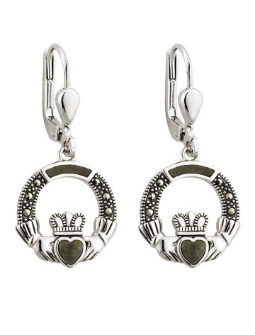 Silver Marcasite & Marble Claddagh Drop Earrings