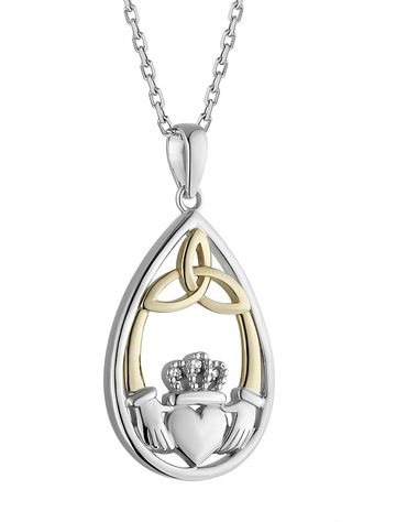 Silver & 10K Gold Diamond Oval Claddagh Pendant