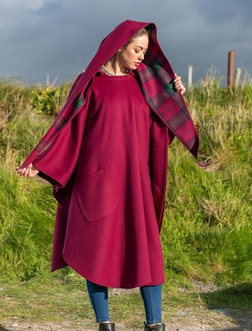 Donegal Tweed Pure Wool Country Walking Cape - Wine