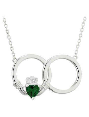 Sterling Silver Crystal Claddagh Circle Necklet
