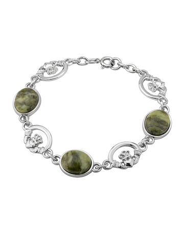 Connemara Marble Claddagh Linked Bracelet