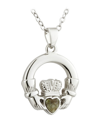 Silver Plated Connemara Marble Claddagh Pendant