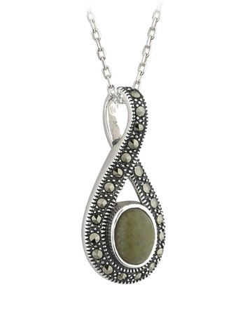 Sterling Silver Connemara Marble & Marcasite Pendant
