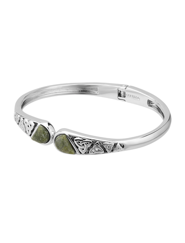 Connemara Marble Trinity Hinged Bangle