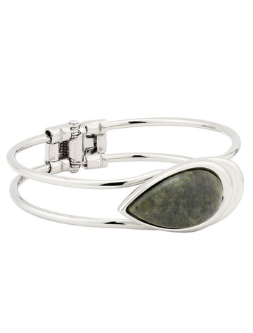Rhodium Connemara Marble Tear Drop Bangle