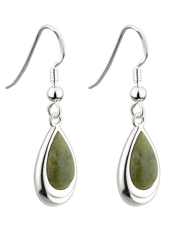 Rhodium Connemara Marble Tear Drop Earrings