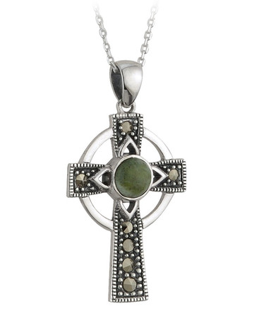Connemara Marble & Marcasite Celtic Cross Pendant