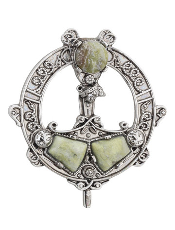 Rhodium Plated Celtic Marble Tara Brooch