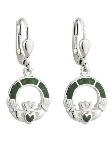 Sterling Silver Connemara Marble Claddagh Drop Earrings