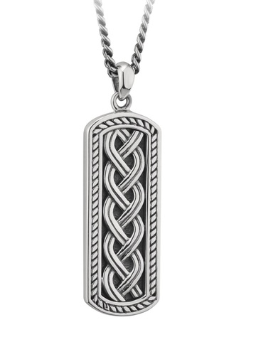 Sterling 银Oxidised Celtic Ingot Pendant