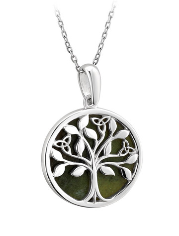 Silver Connemara Marble Tree of Life Pendant