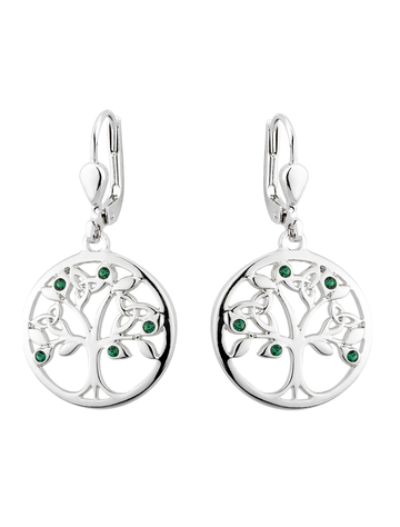 Rhodium Plated CrystalTree of Life Drop Earrings