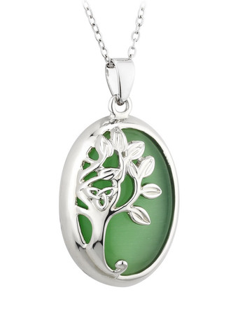 Green Cat Eye Tree Of Life Pendant