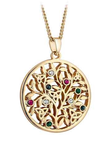 Gold Plated Crystal Tree Of Life Pendant